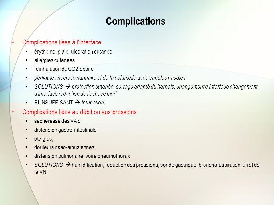 Complications Complications liées à l'interface érythème, plaie, ulcération cutanée allergies cutanées réinhalation du CO2 expiré pédiatrie : nécrose