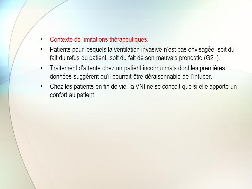 Indications de la VNI selon leur niveau de recommandation Intérêt certain (G1+) Il faut faire Décompensation de BPCO OAP Intérêt non établi de façon certaine (G2+) Il faut probablement faire IRA hypoxémique de l'immunodéprimé Post-opératoire chirurgie thoracique et abdominale Stratégie de sevrage de la VI chez les BPCO Prévention d'une IRA post extubation Traumatisme thoracique fermé isolé Décompensation de MNM chroniques et autres IRC restrictives Mucoviscidose décompensée Forme apnéisante de la bronchiolite aigue Laryngo-trachéomalacie Aucun avantage démontré (G2-) Il ne faut probablement pas faire Pneumopathie hypoxémiante SDRA Traitement de l' IRA post-extubation MNM aiguës Situations sans cotation possibleAAG / Syndrome d'obésité-hypoventilation Bronchiolite aiguë du nourrisson (hors forme apnéisante)
