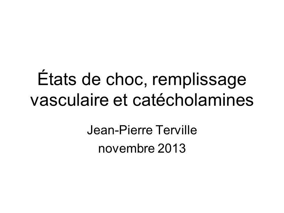 États de choc, remplissage vasculaire et catécholamines Jean-Pierre Terville novembre 2013