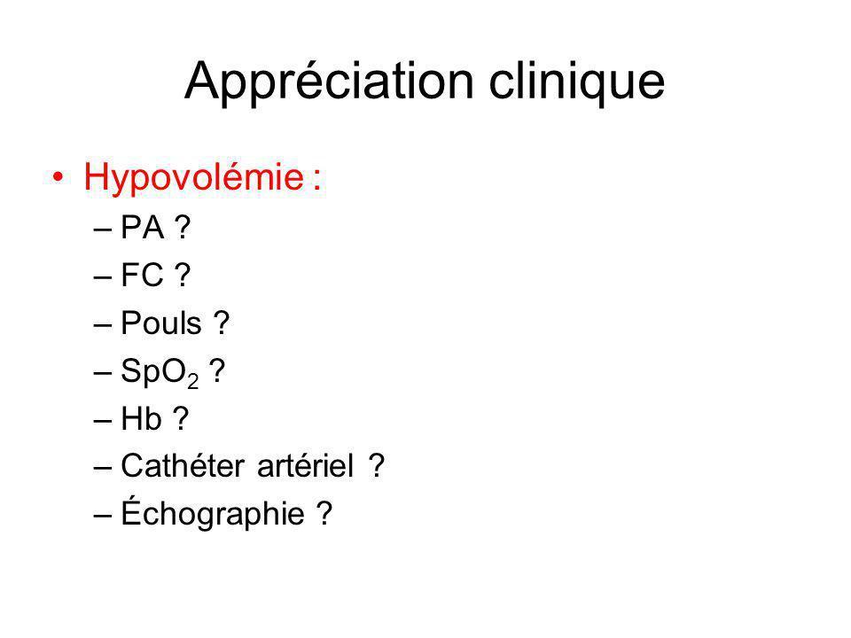 Appréciation clinique Hypovolémie : –PA ? –FC ? –Pouls ? –SpO 2 ? –Hb ? –Cathéter artériel ? –Échographie ?