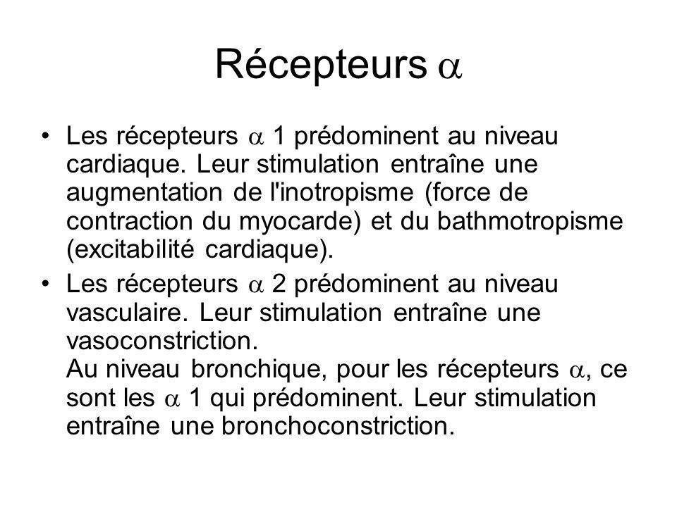 Récepteurs  Les récepteurs  1 prédominent au niveau cardiaque. Leur stimulation entraîne une augmentation de l'inotropisme (force de contraction du