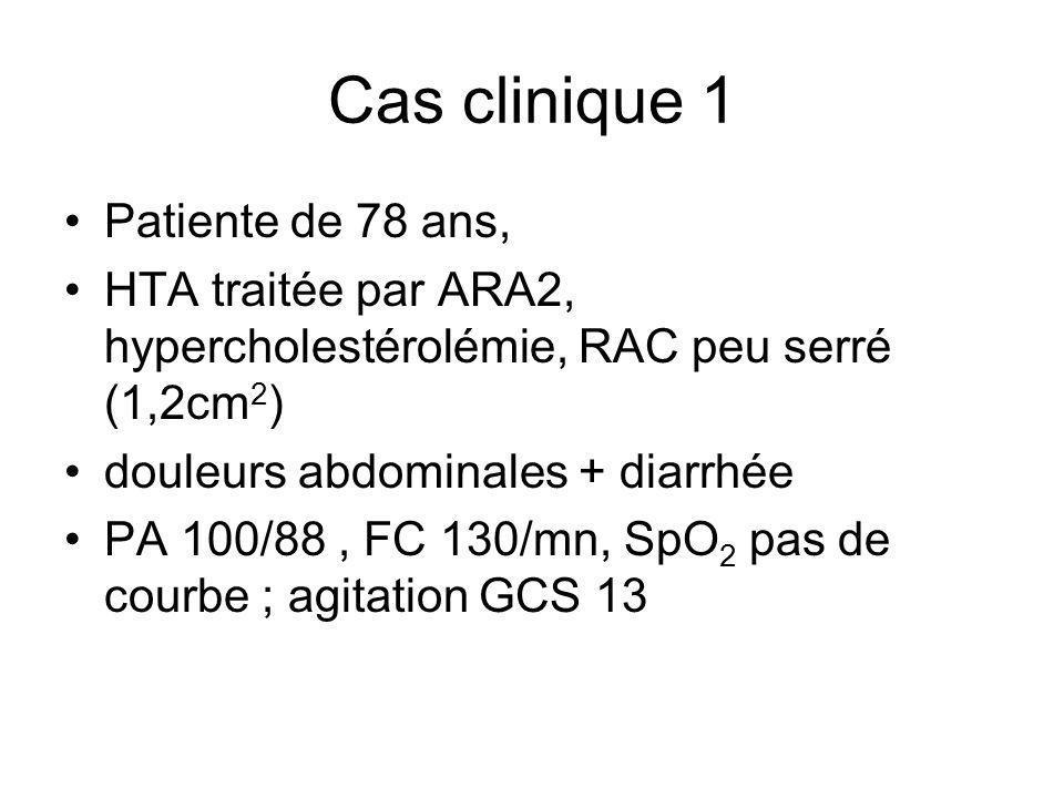 Cas clinique 1 Patiente de 78 ans, HTA traitée par ARA2, hypercholestérolémie, RAC peu serré (1,2cm 2 ) douleurs abdominales + diarrhée PA 100/88, FC
