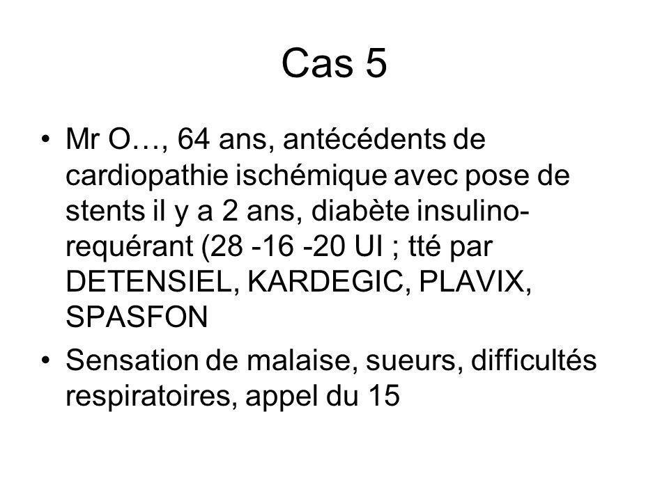 Cas 5 Mr O…, 64 ans, antécédents de cardiopathie ischémique avec pose de stents il y a 2 ans, diabète insulino- requérant (28 -16 -20 UI ; tté par DET