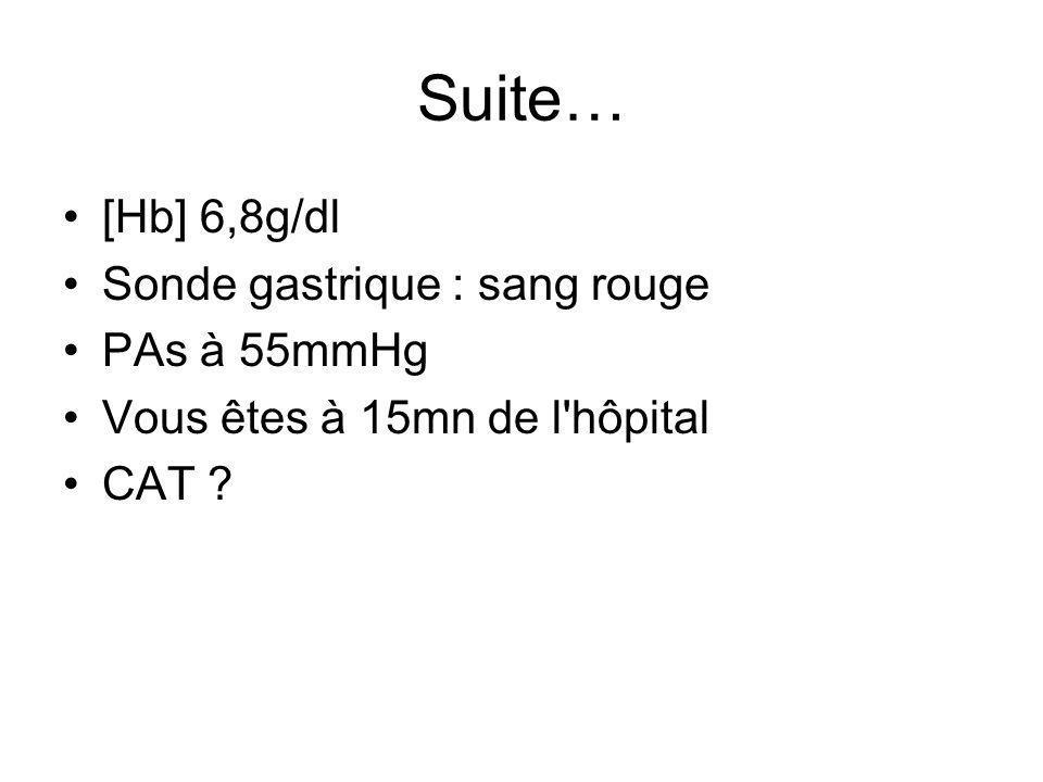 Suite… [Hb] 6,8g/dl Sonde gastrique : sang rouge PAs à 55mmHg Vous êtes à 15mn de l'hôpital CAT ?