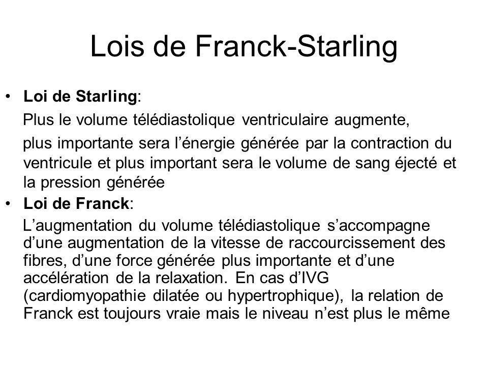 Lois de Franck-Starling Loi de Starling: Plus le volume télédiastolique ventriculaire augmente, plus importante sera l'énergie générée par la contract