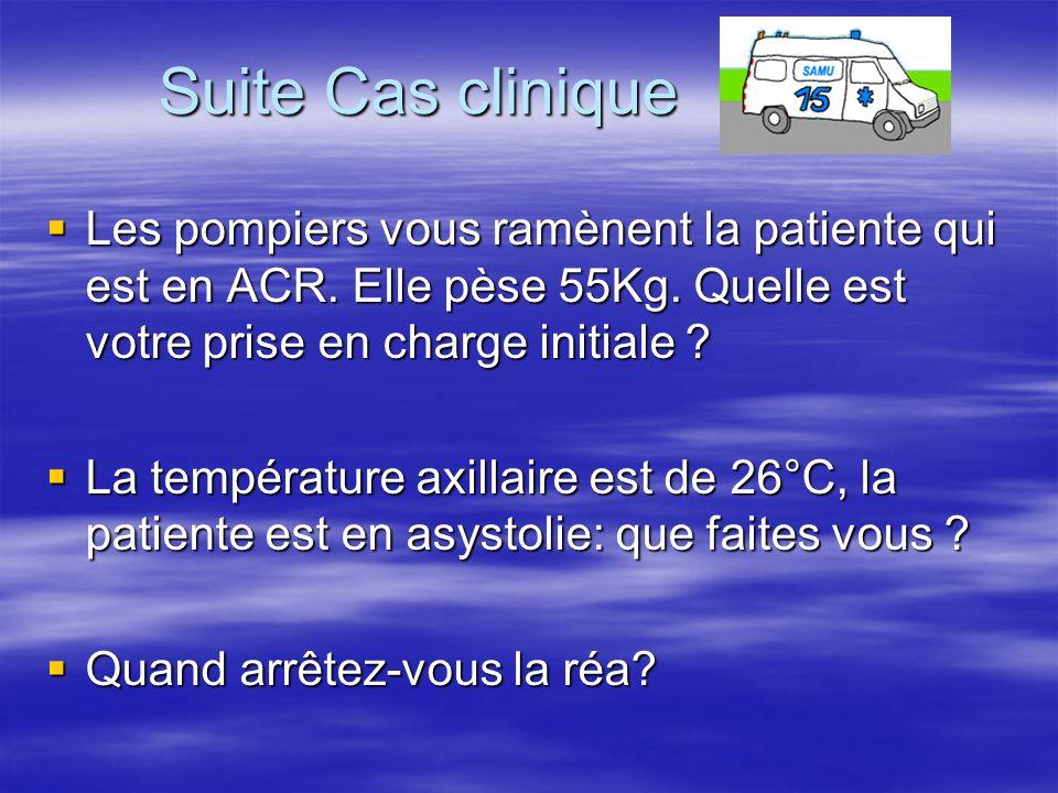 Suite Cas clinique  Les pompiers vous ramènent la patiente qui est en ACR. Elle pèse 55Kg. Quelle est votre prise en charge initiale ?  La températu