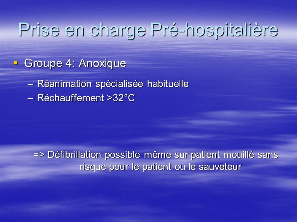 Prise en charge Pré-hospitalière  Groupe 4: Anoxique –Réanimation spécialisée habituelle –Réchauffement >32°C => Défibrillation possible même sur pat
