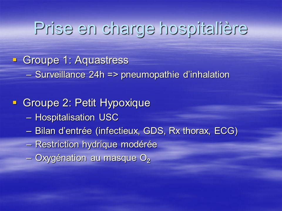 Prise en charge hospitalière  Groupe 1: Aquastress –Surveillance 24h => pneumopathie d'inhalation  Groupe 2: Petit Hypoxique –Hospitalisation USC –B