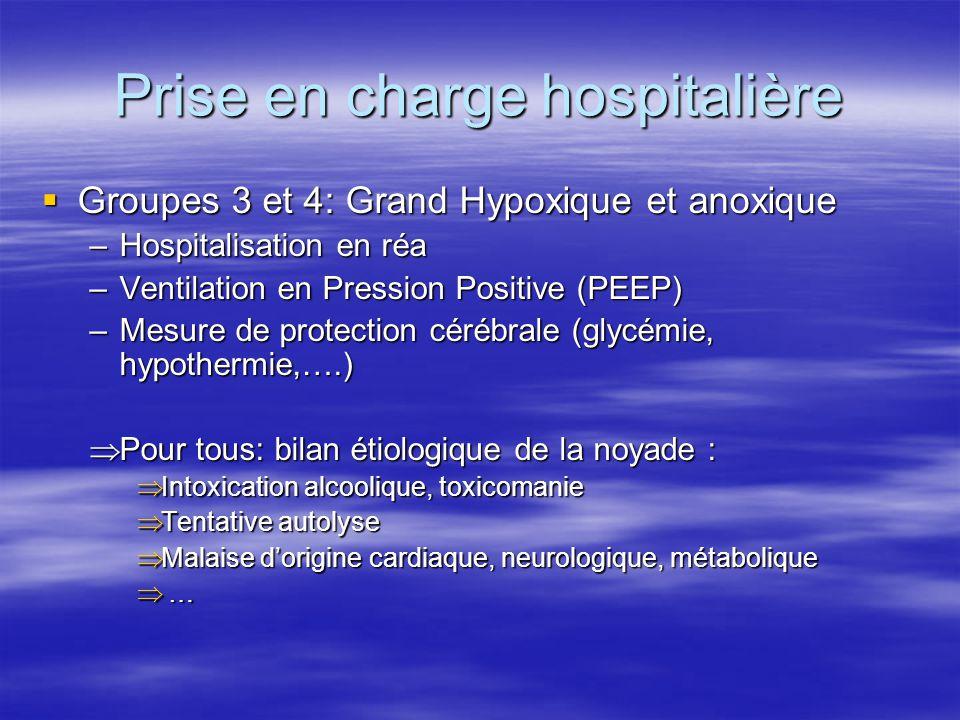 Prise en charge hospitalière  Groupes 3 et 4: Grand Hypoxique et anoxique –Hospitalisation en réa –Ventilation en Pression Positive (PEEP) –Mesure de