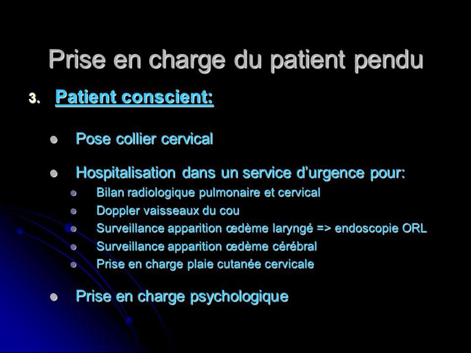 Prise en charge du patient pendu 3. Patient conscient: Pose collier cervical Pose collier cervical Hospitalisation dans un service d'urgence pour: Hos