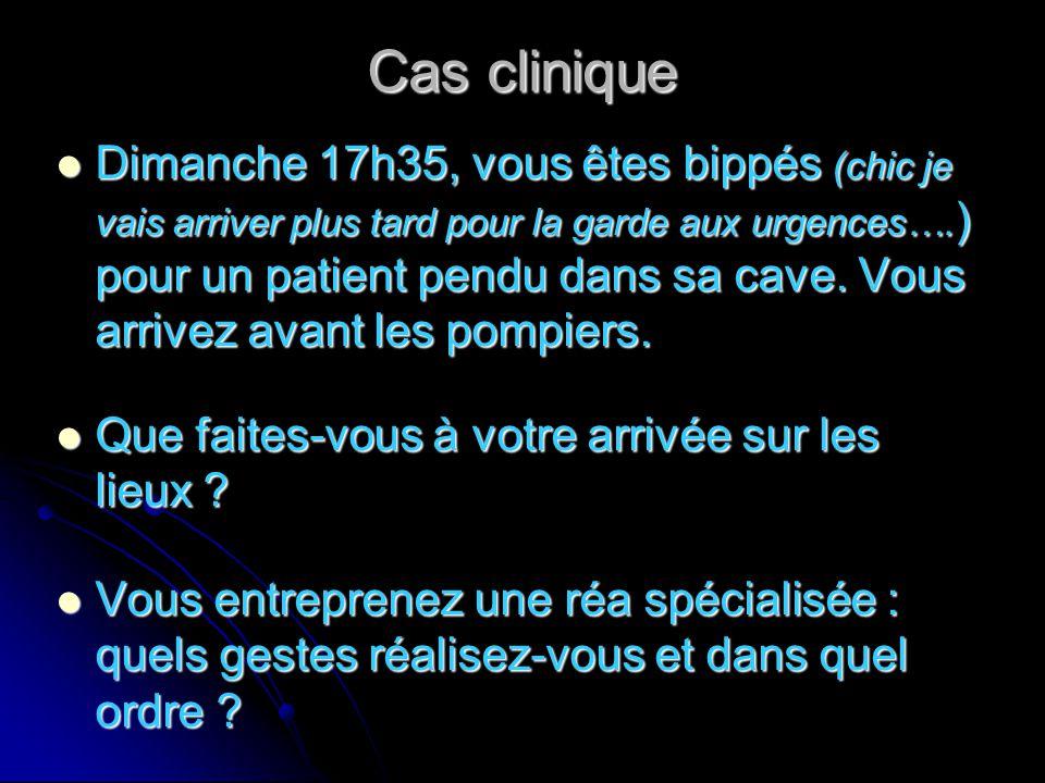 Cas clinique Dimanche 17h35, vous êtes bippés (chic je vais arriver plus tard pour la garde aux urgences…. ) pour un patient pendu dans sa cave. Vous