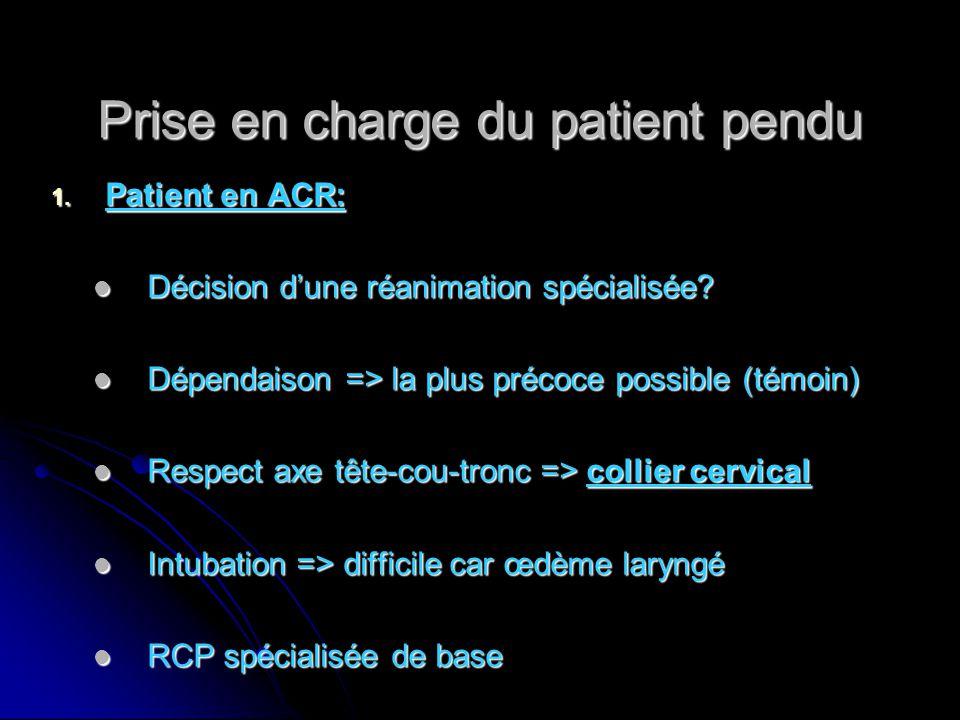 Prise en charge du patient pendu 1. Patient en ACR: Décision d'une réanimation spécialisée? Décision d'une réanimation spécialisée? Dépendaison => la