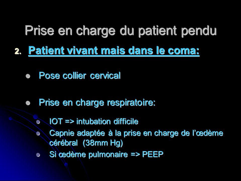 Prise en charge du patient pendu 2. Patient vivant mais dans le coma: Pose collier cervical Pose collier cervical Prise en charge respiratoire: Prise