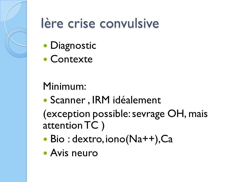 Ière crise convulsive Diagnostic Contexte Minimum: Scanner, IRM idéalement (exception possible: sevrage OH, mais attention TC ) Bio : dextro, iono(Na+