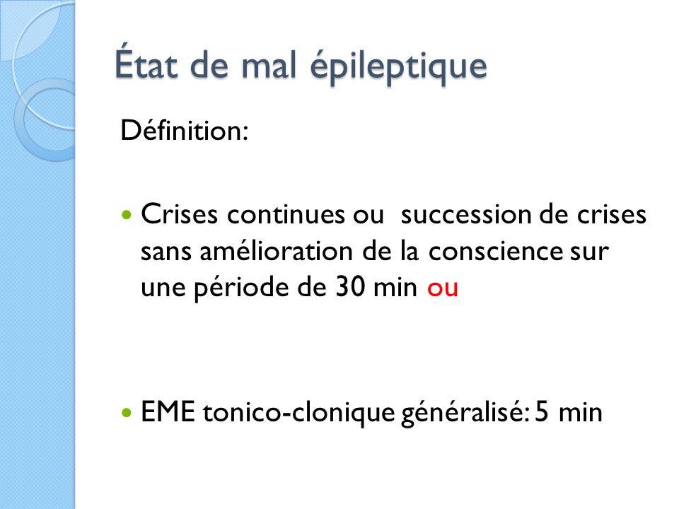 État de mal épileptique Définition: Crises continues ou succession de crises sans amélioration de la conscience sur une période de 30 min ou EME tonic