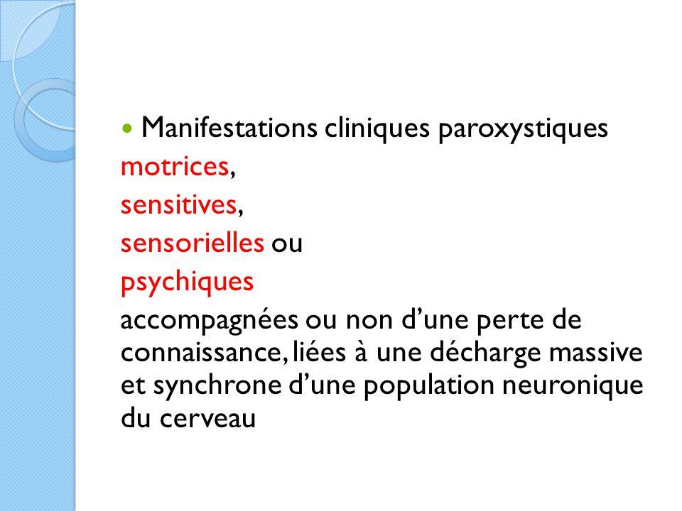 Manifestations cliniques paroxystiques motrices, sensitives, sensorielles ou psychiques accompagnées ou non d'une perte de connaissance, liées à une d