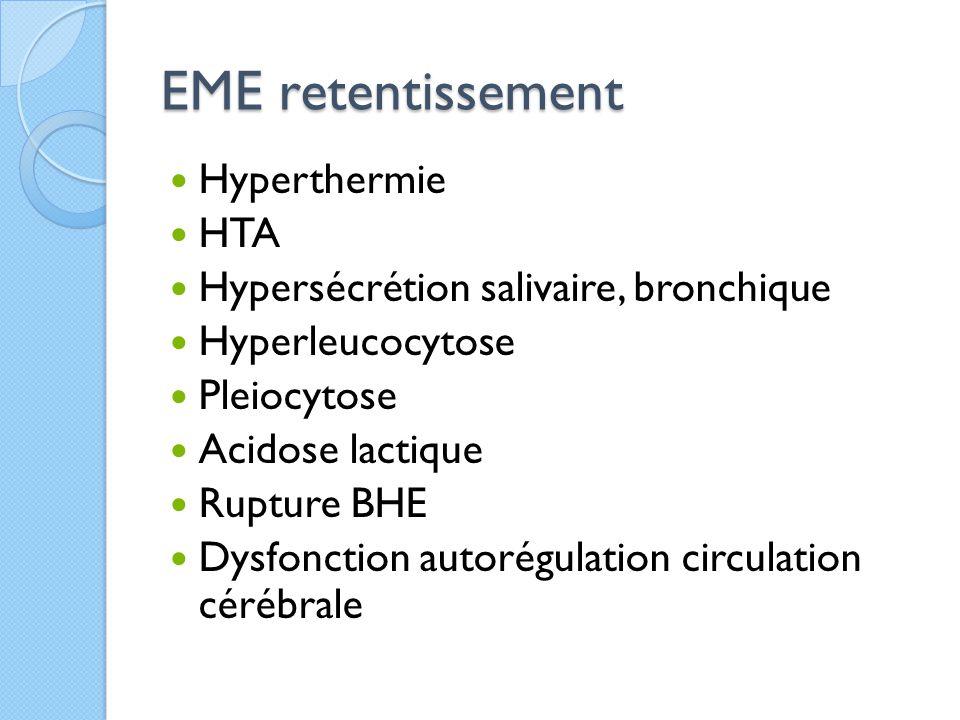EME retentissement Hyperthermie HTA Hypersécrétion salivaire, bronchique Hyperleucocytose Pleiocytose Acidose lactique Rupture BHE Dysfonction autorég