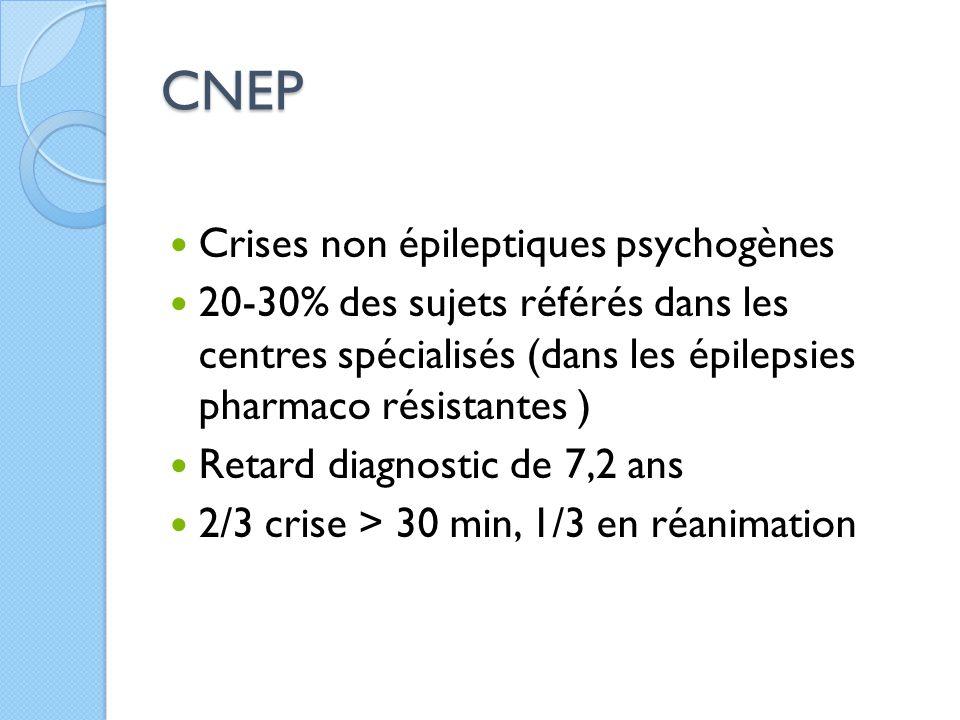CNEP Crises non épileptiques psychogènes 20-30% des sujets référés dans les centres spécialisés (dans les épilepsies pharmaco résistantes ) Retard dia