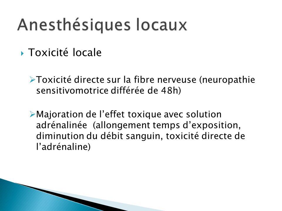  Toxicité locale  Toxicité directe sur la fibre nerveuse (neuropathie sensitivomotrice différée de 48h)  Majoration de l'effet toxique avec solutio