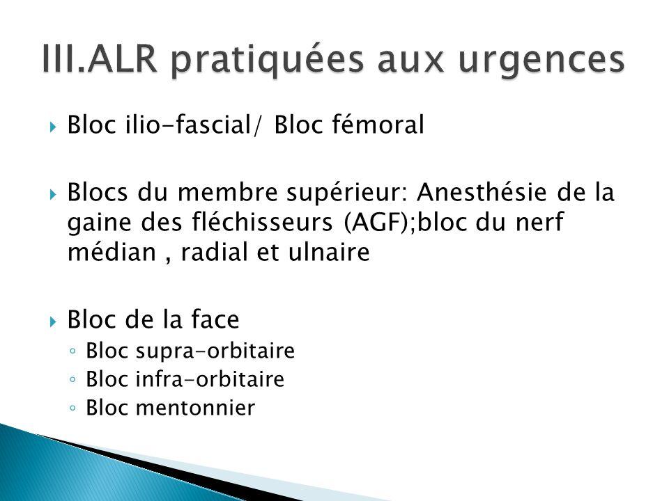  Bloc ilio-fascial/ Bloc fémoral  Blocs du membre supérieur: Anesthésie de la gaine des fléchisseurs (AGF);bloc du nerf médian, radial et ulnaire 