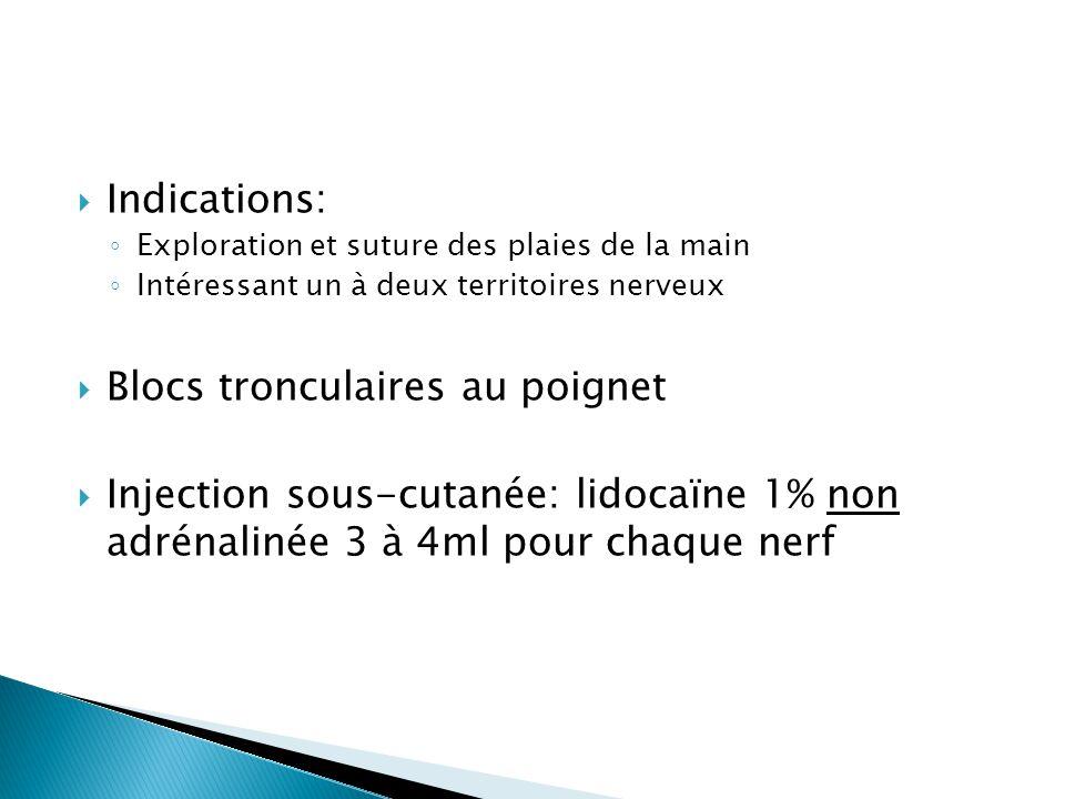  Indications: ◦ Exploration et suture des plaies de la main ◦ Intéressant un à deux territoires nerveux  Blocs tronculaires au poignet  Injection s