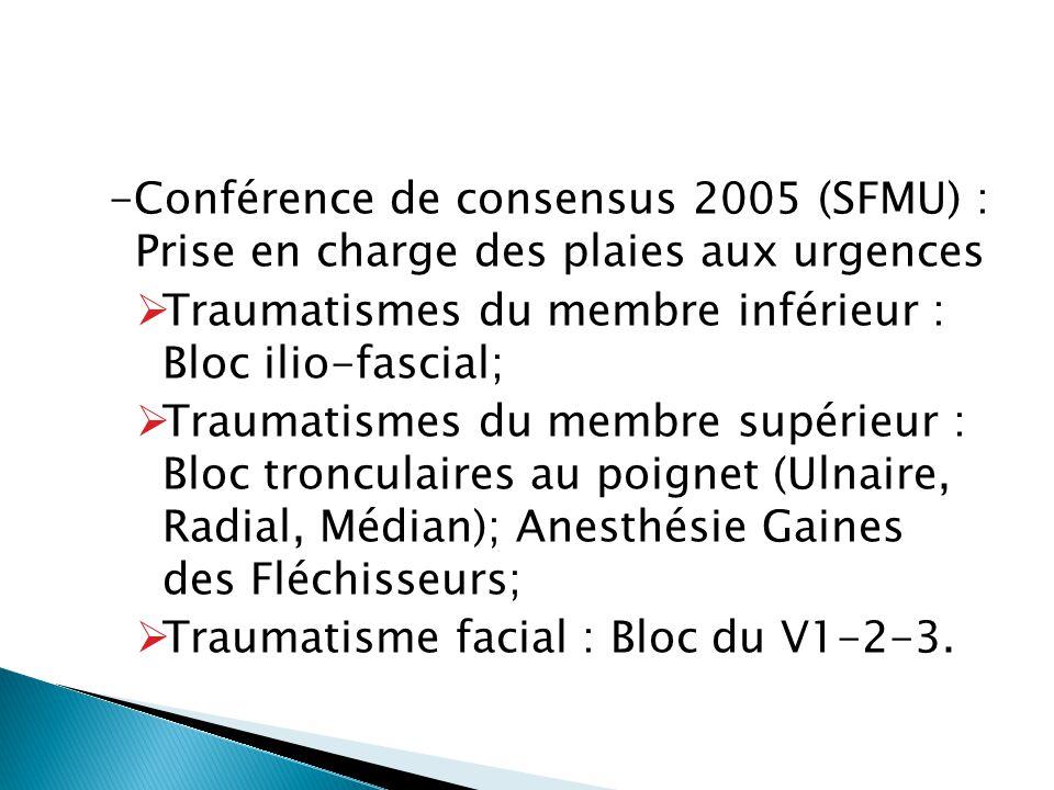 -Conférence de consensus 2005 (SFMU) : Prise en charge des plaies aux urgences  Traumatismes du membre inférieur : Bloc ilio-fascial;  Traumatismes