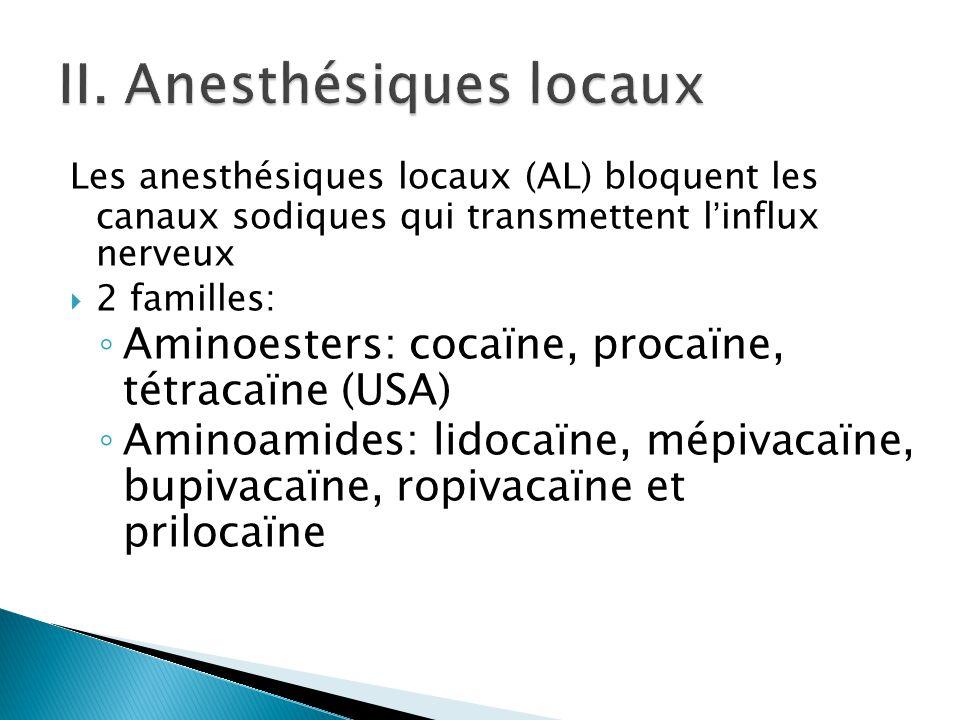 Les anesthésiques locaux (AL) bloquent les canaux sodiques qui transmettent l'influx nerveux  2 familles: ◦ Aminoesters: cocaïne, procaïne, tétracaïn