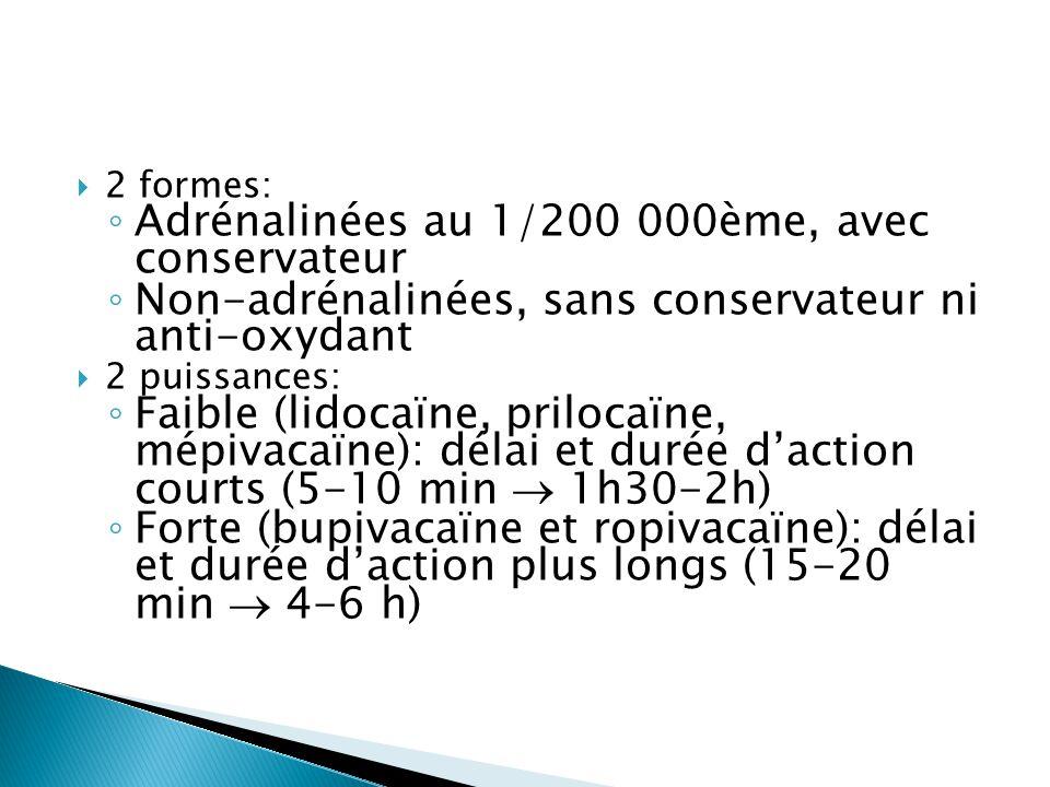  2 formes: ◦ Adrénalinées au 1/200 000ème, avec conservateur ◦ Non-adrénalinées, sans conservateur ni anti-oxydant  2 puissances: ◦ Faible (lidocaïn