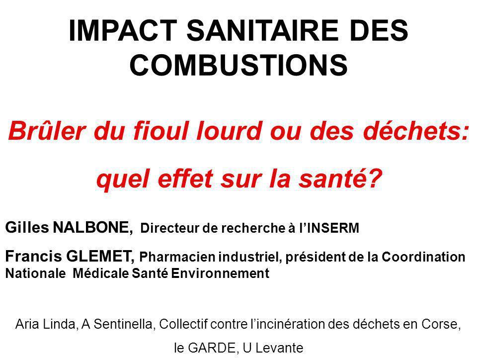 IMPACT SANITAIRE DES COMBUSTIONS Brûler du fioul lourd ou des déchets: quel effet sur la santé.