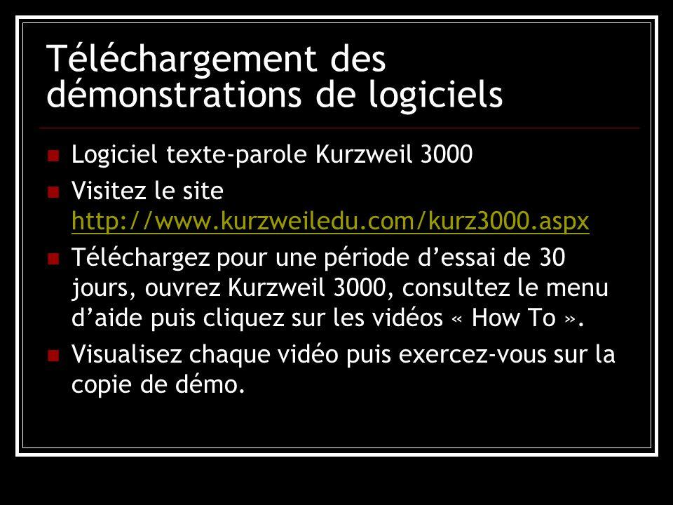 Téléchargement des démonstrations de logiciels Logiciel texte-parole Kurzweil 3000 Visitez le site http://www.kurzweiledu.com/kurz3000.aspx http://www.kurzweiledu.com/kurz3000.aspx Téléchargez pour une période d'essai de 30 jours, ouvrez Kurzweil 3000, consultez le menu d'aide puis cliquez sur les vidéos « How To ».