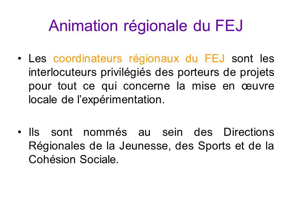 Animation régionale du FEJ Les coordinateurs régionaux du FEJ sont les interlocuteurs privilégiés des porteurs de projets pour tout ce qui concerne la mise en œuvre locale de l'expérimentation.