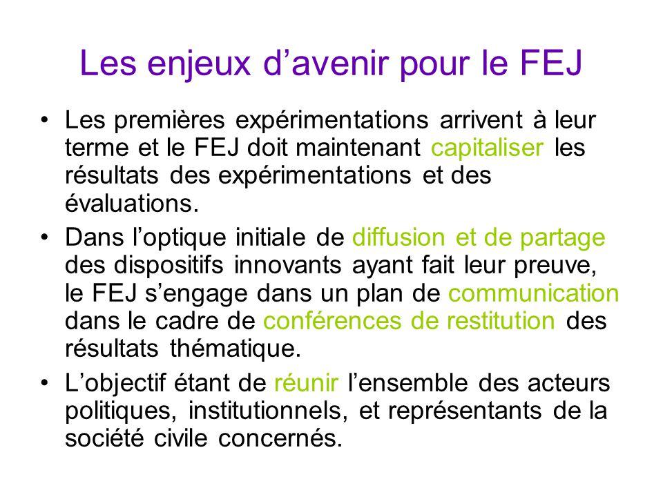Les enjeux d'avenir pour le FEJ Les premières expérimentations arrivent à leur terme et le FEJ doit maintenant capitaliser les résultats des expérimentations et des évaluations.