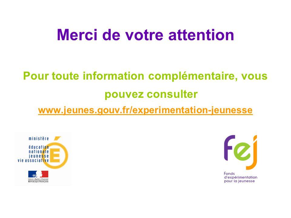 Merci de votre attention Pour toute information complémentaire, vous pouvez consulter www.jeunes.gouv.fr/experimentation-jeunesse