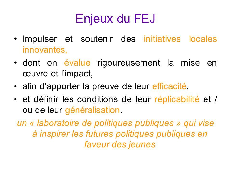 Enjeux du FEJ Impulser et soutenir des initiatives locales innovantes, dont on évalue rigoureusement la mise en œuvre et l'impact, afin d'apporter la preuve de leur efficacité, et définir les conditions de leur réplicabilité et / ou de leur généralisation.