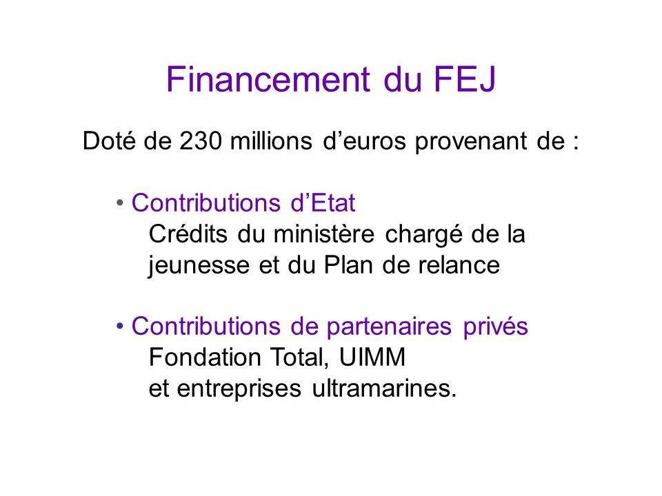 Financement du FEJ Doté de 230 millions d'euros provenant de : Contributions d'Etat Crédits du ministère chargé de la jeunesse et du Plan de relance Contributions de partenaires privés Fondation Total, UIMM et entreprises ultramarines.