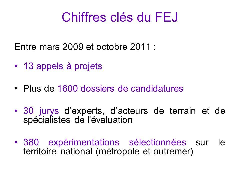 Chiffres clés du FEJ Entre mars 2009 et octobre 2011 : 13 appels à projets Plus de 1600 dossiers de candidatures 30 jurys d'experts, d'acteurs de terr