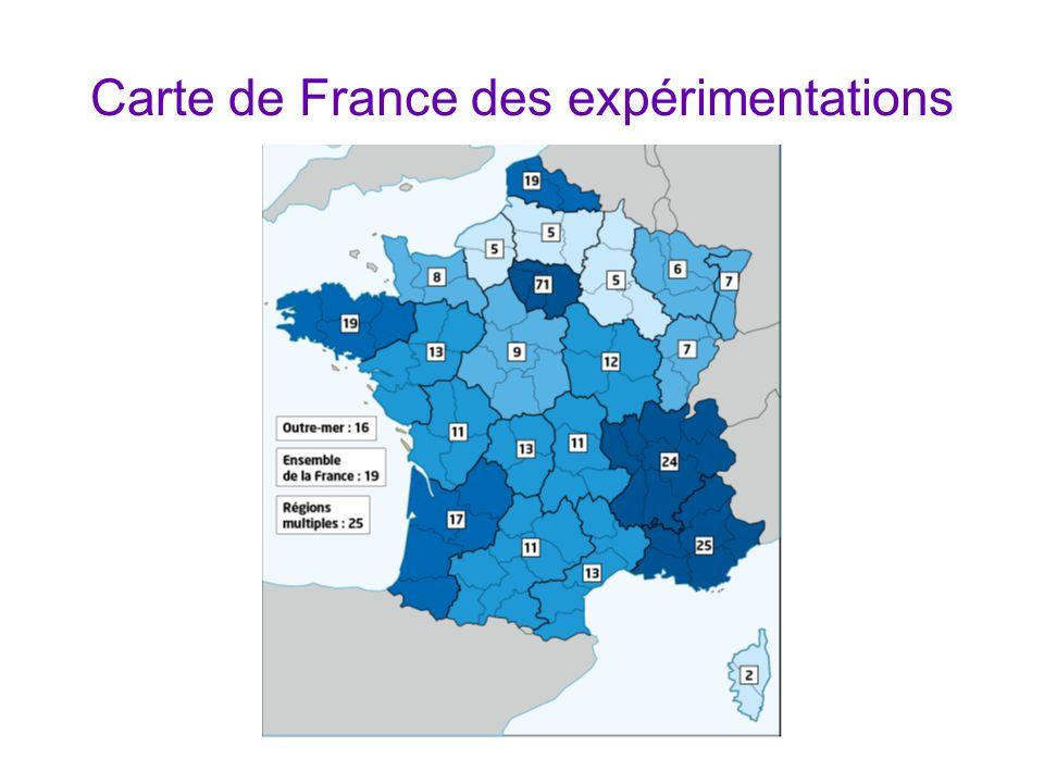 Carte de France des expérimentations
