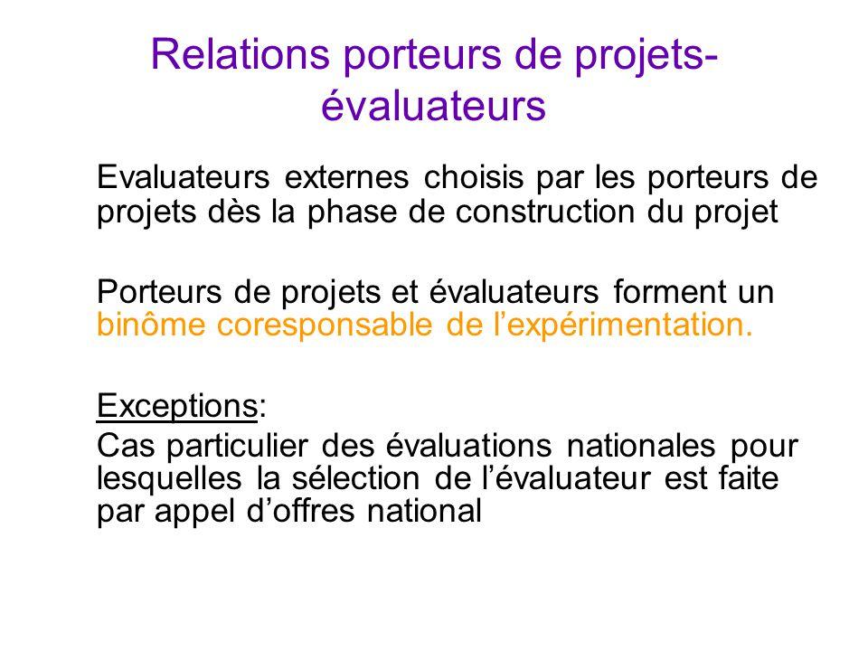 Relations porteurs de projets- évaluateurs Evaluateurs externes choisis par les porteurs de projets dès la phase de construction du projet Porteurs de projets et évaluateurs forment un binôme coresponsable de l'expérimentation.