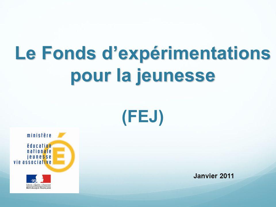 Objectifs généraux du FEJ Mis en place en 2009 suite au livre vert « reconnaître la valeur de la jeunesse », le Fonds d'expérimentations pour la jeunesse vise : à favoriser la réussite scolaire des élèves ; et améliorer l insertion sociale et professionnelle des jeunes de moins de 25 ans.