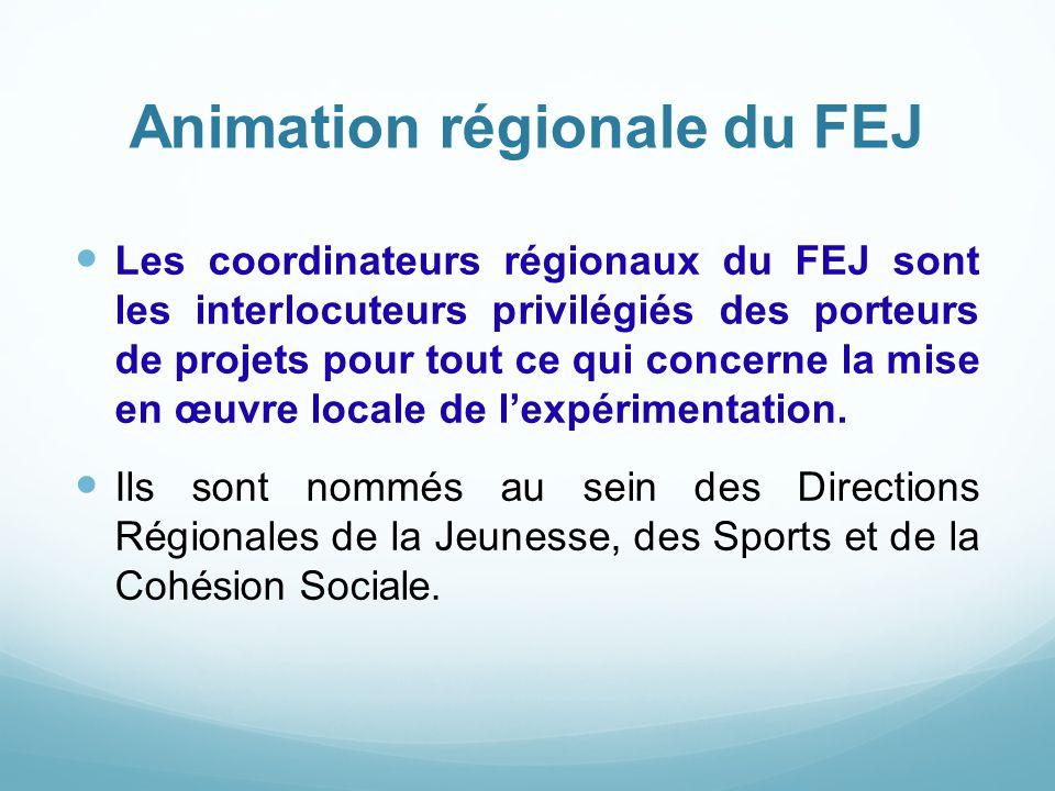 Animation régionale du FEJ Les coordinateurs régionaux du FEJ sont les interlocuteurs privilégiés des porteurs de projets pour tout ce qui concerne la