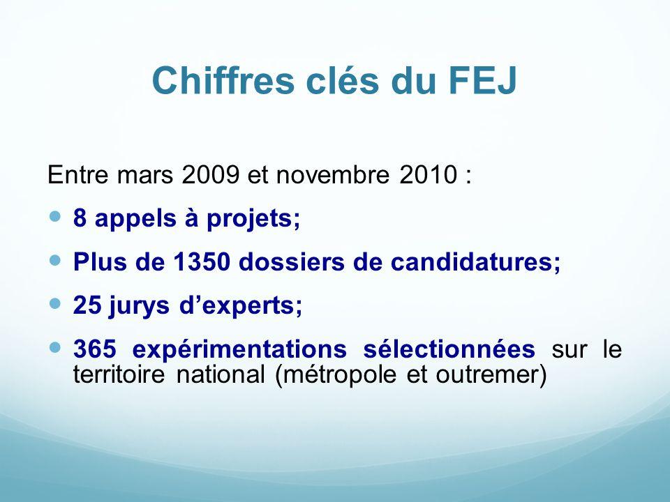 Chiffres clés du FEJ Entre mars 2009 et novembre 2010 : 8 appels à projets; Plus de 1350 dossiers de candidatures; 25 jurys d'experts; 365 expérimenta