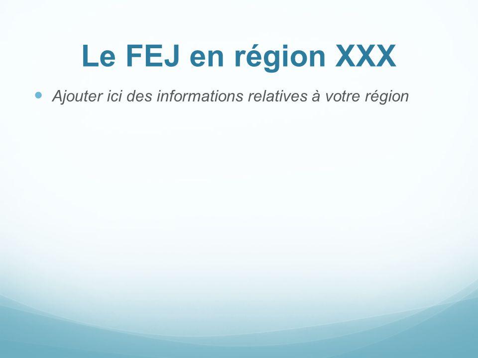 Le FEJ en région XXX Ajouter ici des informations relatives à votre région
