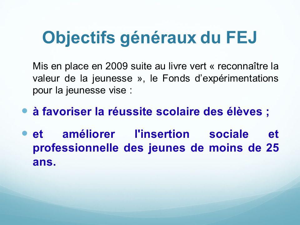 Objectifs généraux du FEJ Mis en place en 2009 suite au livre vert « reconnaître la valeur de la jeunesse », le Fonds d'expérimentations pour la jeune