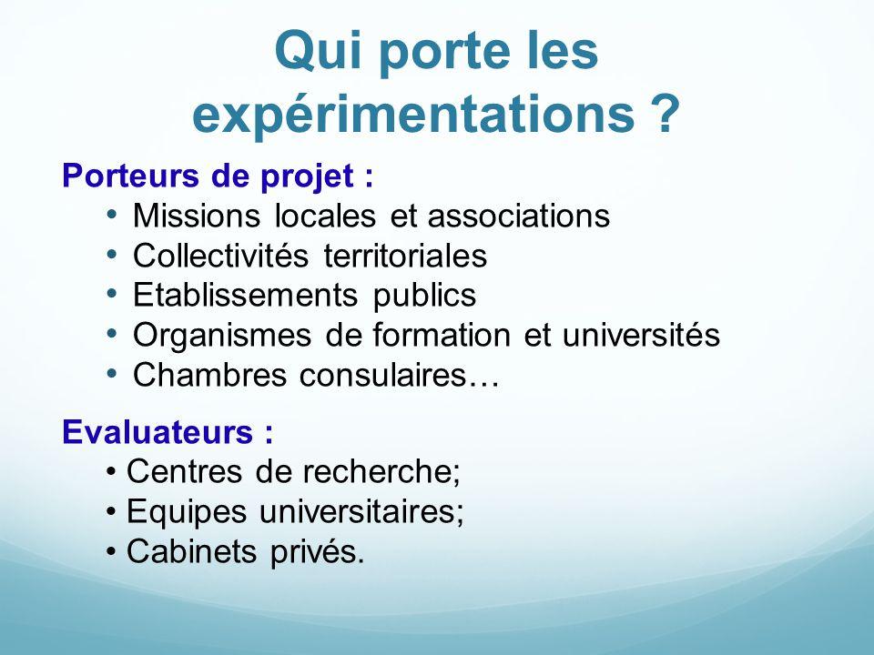 Qui porte les expérimentations ? Porteurs de projet : Missions locales et associations Collectivités territoriales Etablissements publics Organismes d