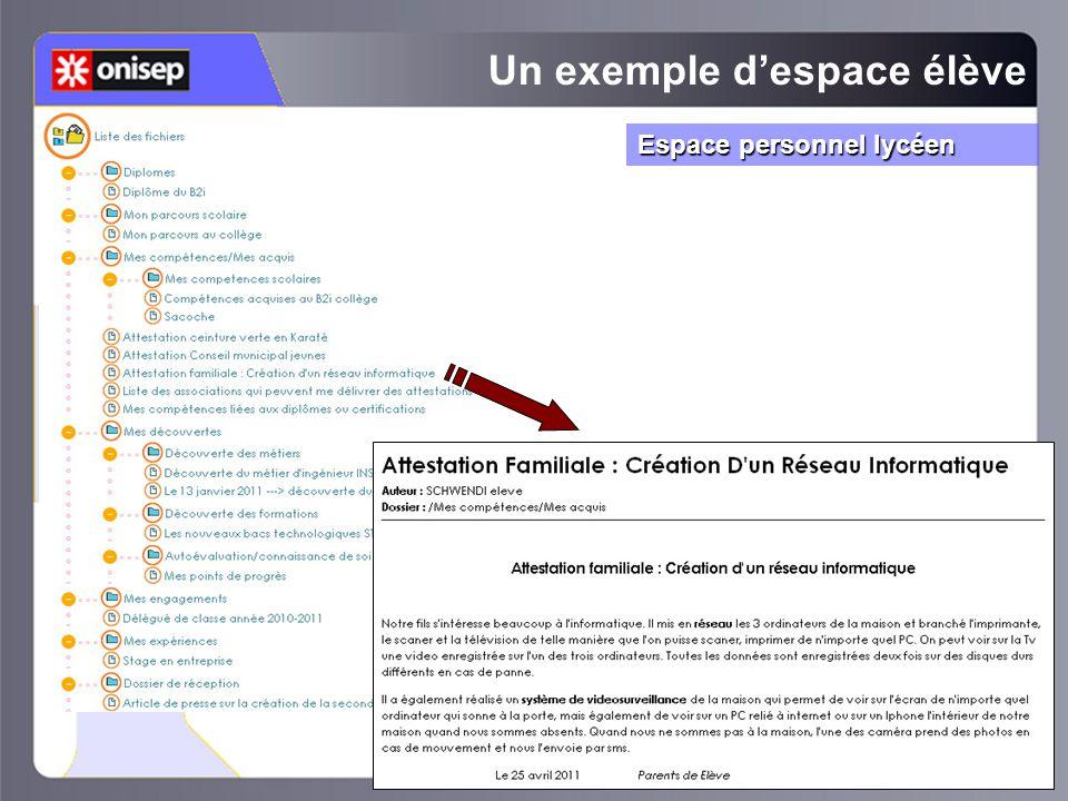 Un exemple d'espace élève Espace personnel lycéen