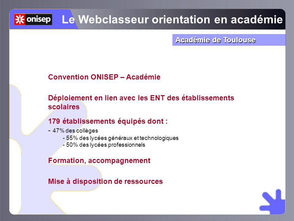 Convention ONISEP – Académie Le Webclasseur orientation en académie Déploiement en lien avec les ENT des établissements scolaires Formation, accompagn