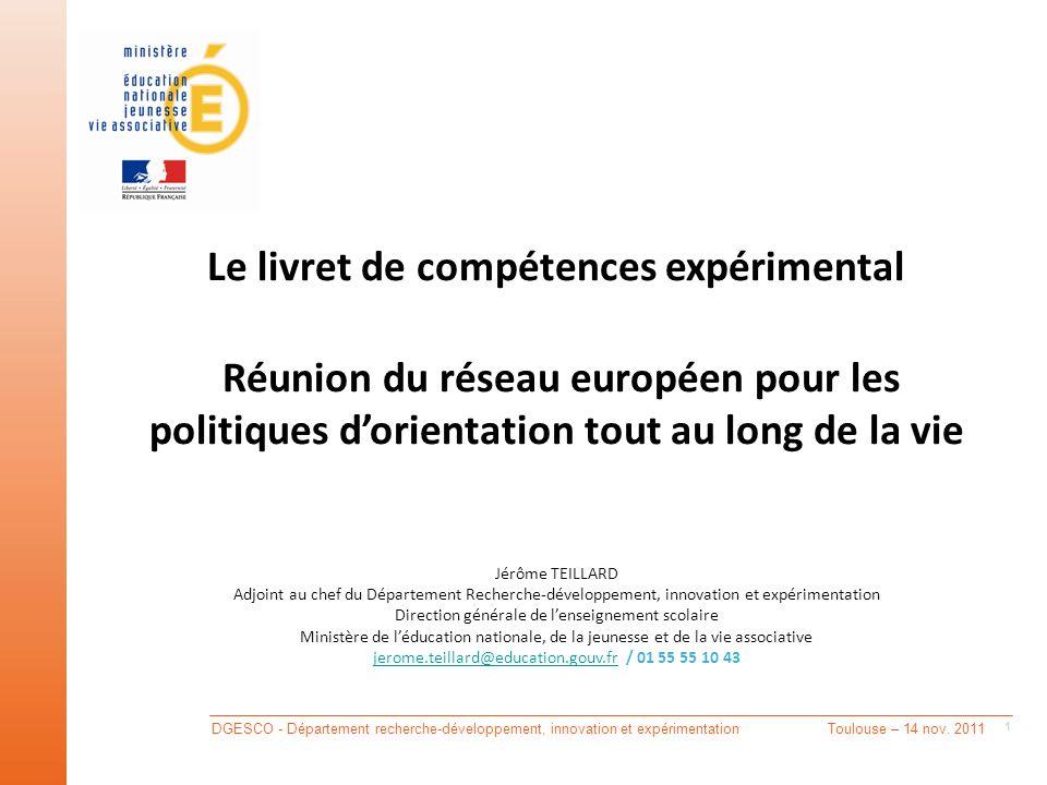 DGESCO - Département recherche-développement, innovation et expérimentation Toulouse – 14 nov.