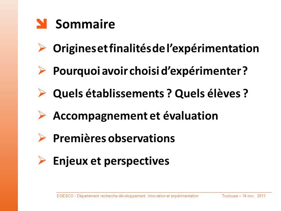 Sommaire  Origines et finalités de l'expérimentation  Pourquoi avoir choisi d'expérimenter .