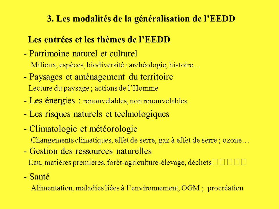 3. Les modalités de la généralisation de l'EEDD Les entrées et les thèmes de l'EEDD - Patrimoine naturel et culturel Milieux, espèces, biodiversité ;