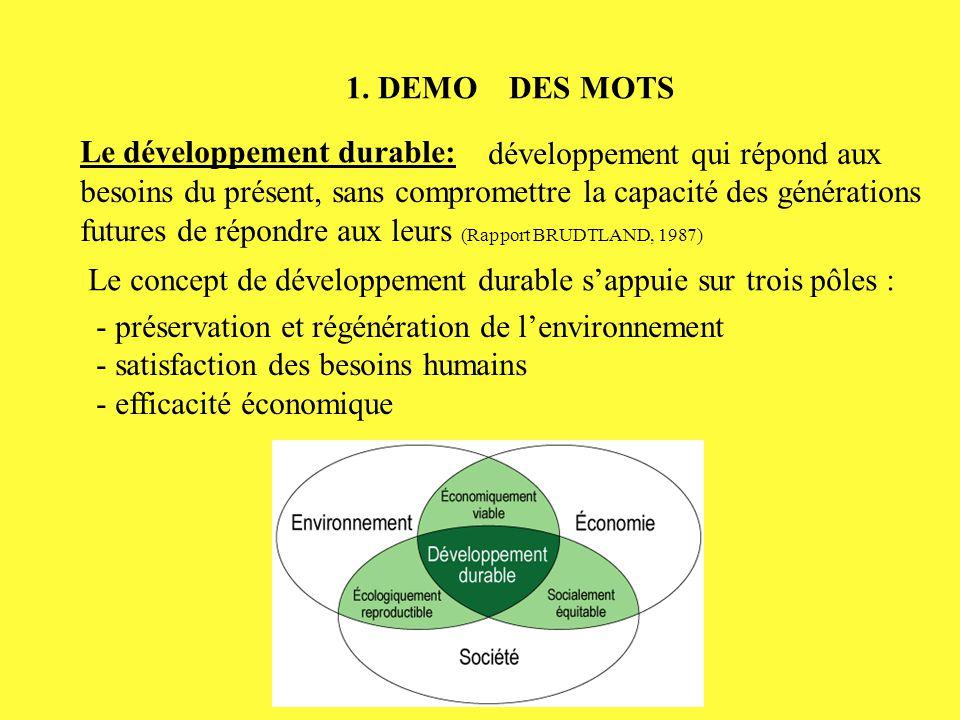 1. DEMO DES MOTS Le développement durable: développement qui répond aux besoins du présent, sans compromettre la capacité des générations futures de r